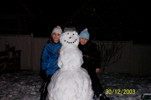 The famous hat - on the snowman!